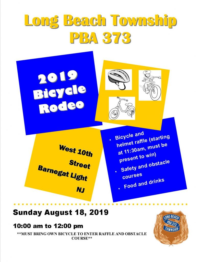BL Bicycle Rodeo August 18, 2019 on West 10th Street in Barnegat Light from 10am to 12pm